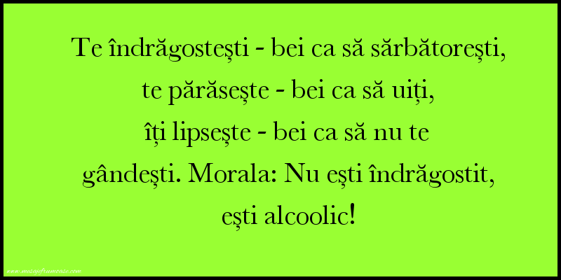 Mesaje amuzante - Nu ești îndrăgostit, ești alcoolic!