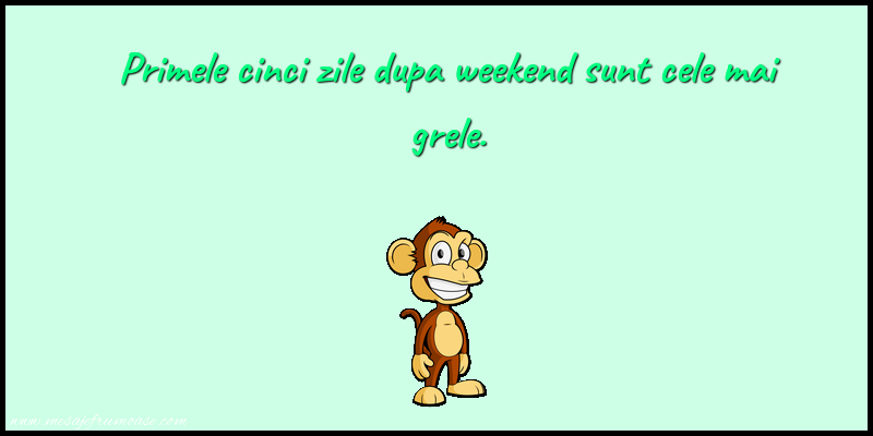 Mesaje amuzante - Primele cinci zile dupa weekend sunt cele mai grele.