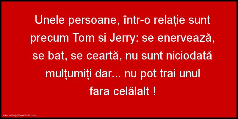 Mesaje amuzante - Unele persoane, într-o relaţie sunt precum Tom si Jerry