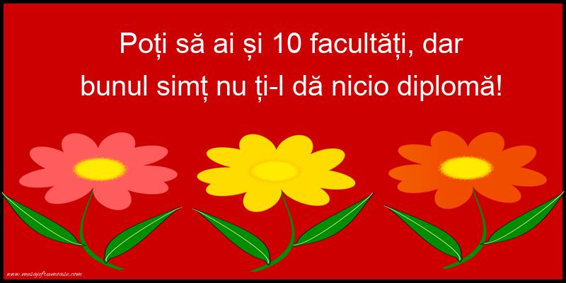 Mesaje frumoase despre caracter - Poți să ai și 10 facultăți...