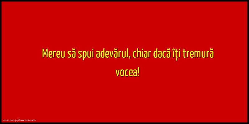 Mesaje frumoase despre caracter - Mereu sa spui adevarul, chiar daca iti tremura vocea!