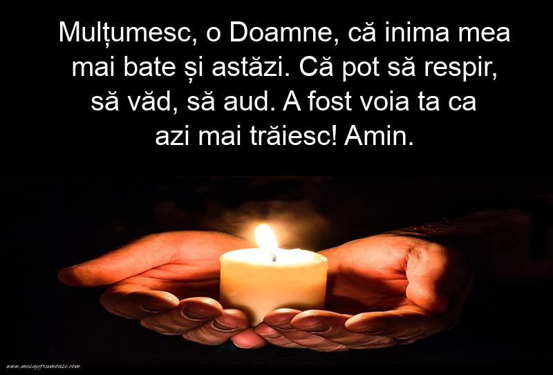 Mesaje frumoase despre credinta - Mulțumesc, o Doamne, că inima mea mai bate și astăzi