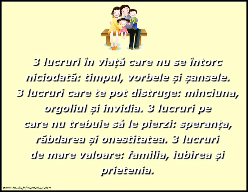 Mesaje frumoase despre familie - 3 lucruri în viață care nu se întorc niciodată