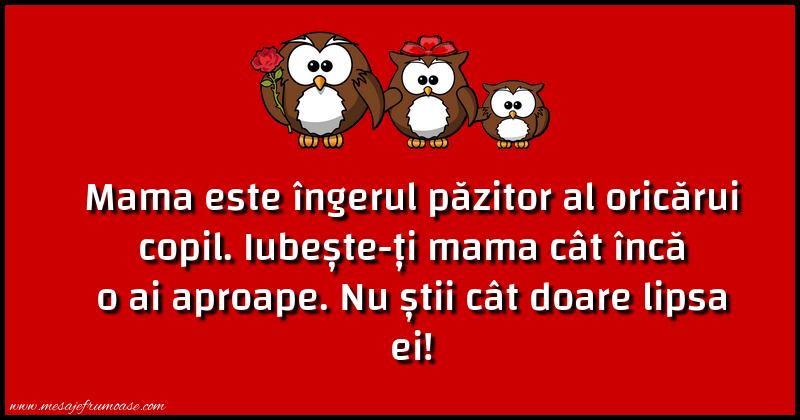 Mesaje frumoase despre familie - Mama este îngerul păzitor al oricărui copil...