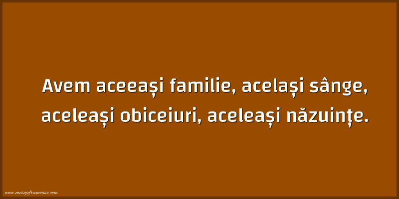 Mesaje frumoase despre familie - Avem aceeași familie, același sânge