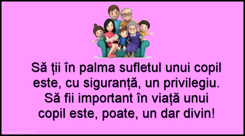 Mesaje frumoase despre familie - Să ții în palma sufletul unui copil