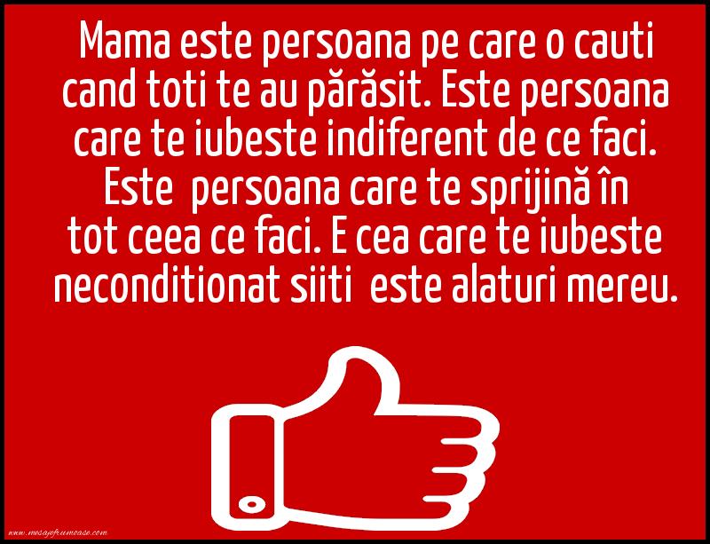 Mesaje frumoase despre familie - Mama este persoana pe care o cauti cand toti te au părăsit
