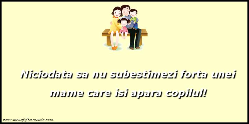 Mesaje frumoase despre familie - Niciodata sa nu subestimezi forta unei mame care isi apara copilul!