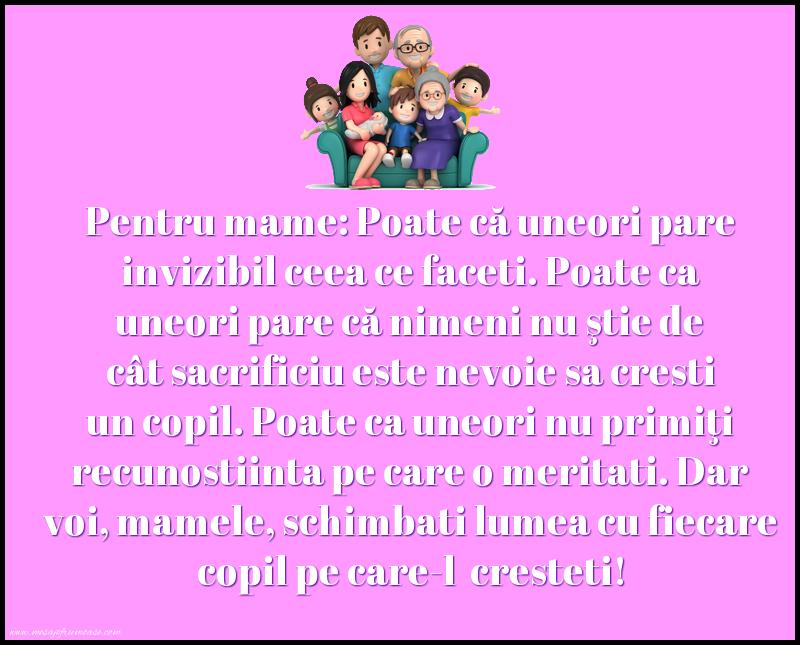 Mesaje frumoase despre familie - Voi, mamele, schimbati lumea cu fiecare copil pe care-l cresteti!