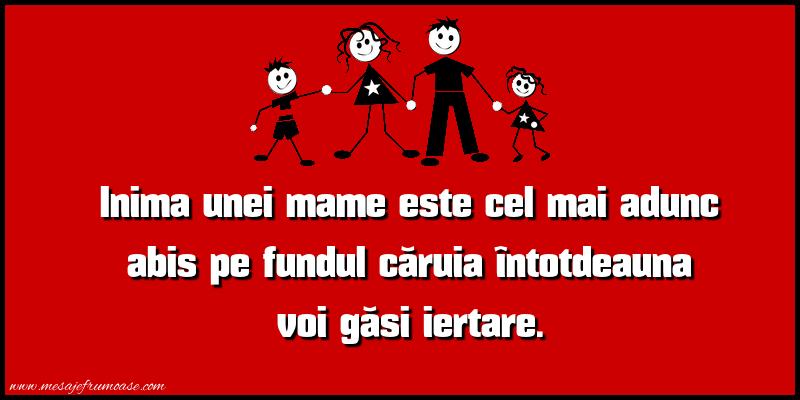 Mesaje frumoase despre familie - Inima unei mame este cel mai adunc abis pe fundal