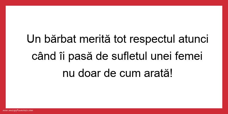 Mesaje frumoase despre femei - Un bărbat merită tot respectul atunci când...