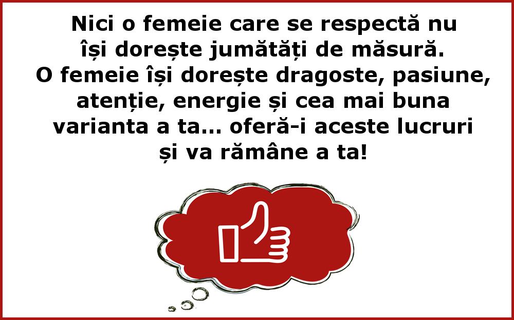 Mesaje frumoase despre femei - Nici o femeie care se respecta nu isi doreste jumatati de masura