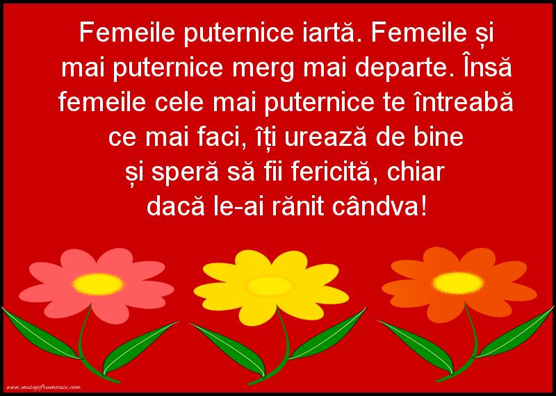 Mesaje frumoase despre femei - Femeile puternice iartă