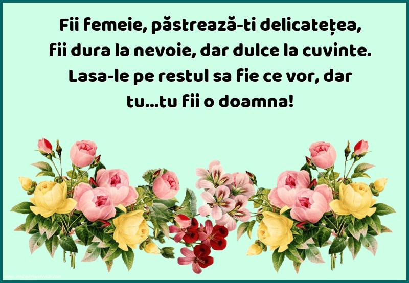 Mesaje frumoase despre femei - Fii femeie