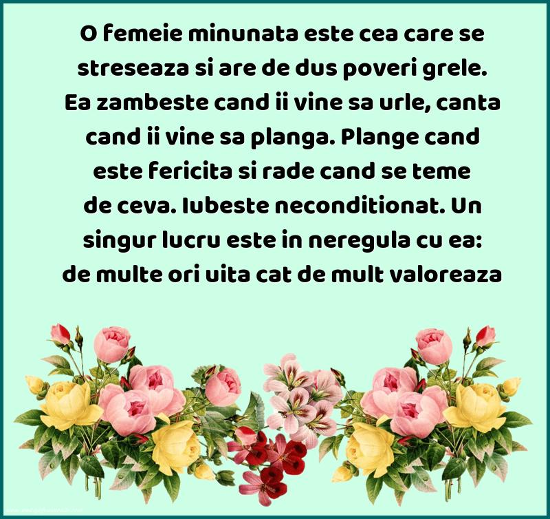 Mesaje frumoase despre femei - O femeie minunata este cea care