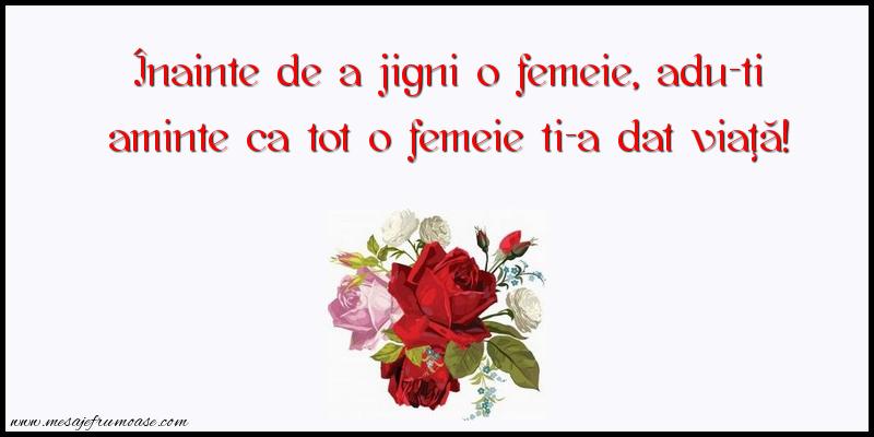 Mesaje frumoase despre femei - Înainte de a jigni o femeie