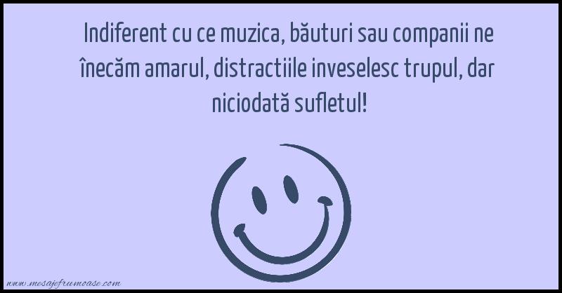 Mesaje frumoase fericire - Distractiile inveselesc trupul, dar niciodată sufletul!
