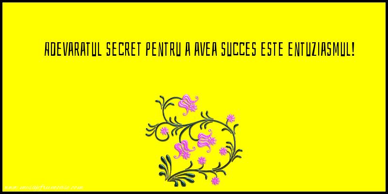 Mesaje frumoase de incurajare - Adevaratul secret pentru a avea succes este entuziasmul!