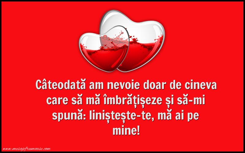 Mesaje frumoase despre iubire - Câteodată am nevoie doar de cineva care să mă îmbrățișeze...