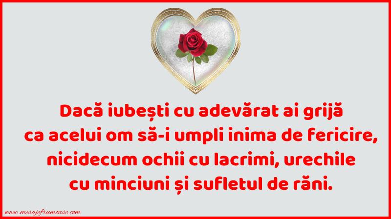 Mesaje frumoase despre iubire - Dacă iubești cu adevărat ai grijă ca...