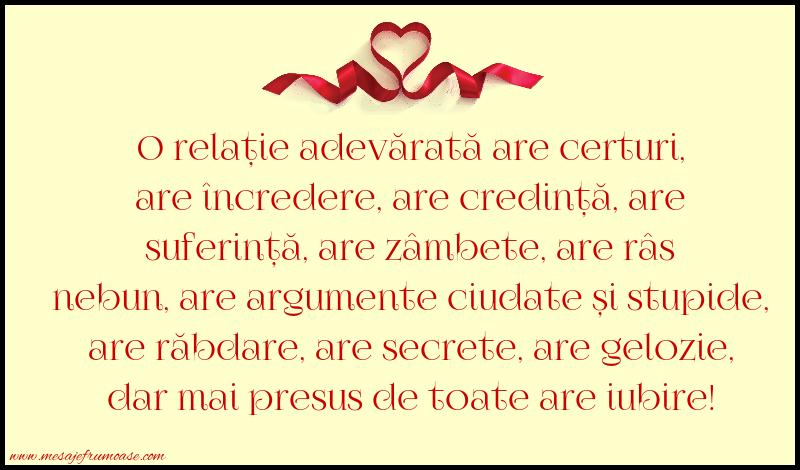 Mesaje frumoase despre iubire - O relație adevărată are certuri, are încredere