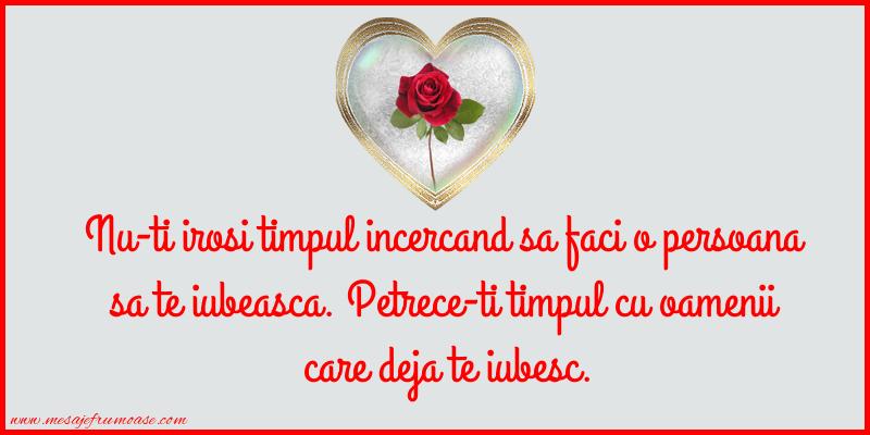 Mesaje frumoase despre iubire - Nu-ti irosi timpul incercand sa faci o persoana sa te iubeasca.