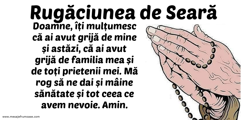Rugăciunea de Seară: Doamne, îți mulțumesc că ai avut grijă de mine și astăzi