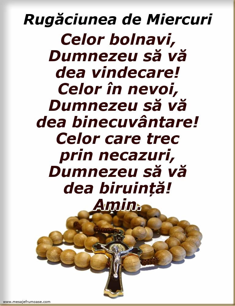 Rugăciunea de Miercuri: Celor bolnavi, Dumnezeu să vă dea vindecare!