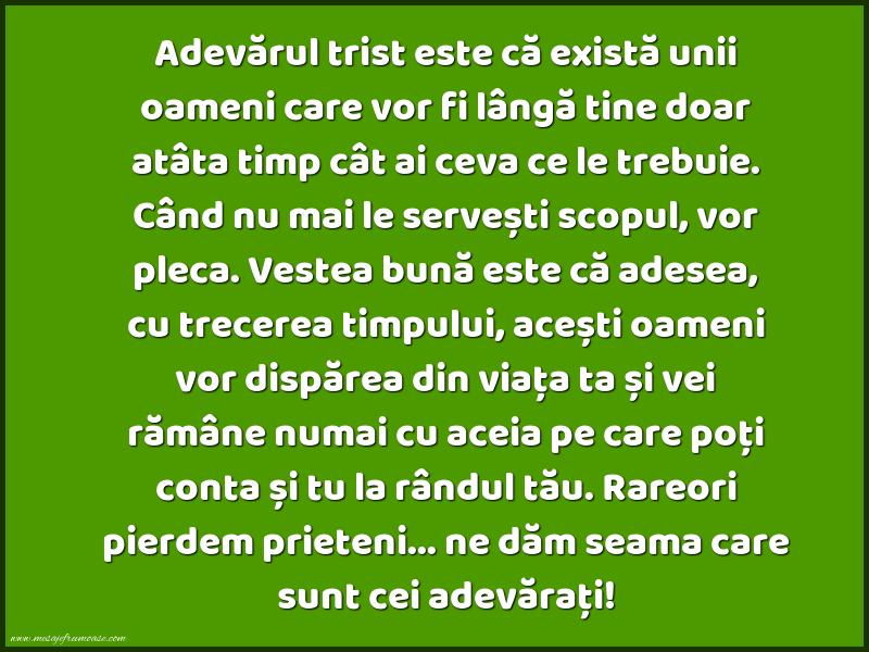 Mesaje frumoase despre prietenie - Adevărul trist este că există unii oameni care vor fi lângă tine...