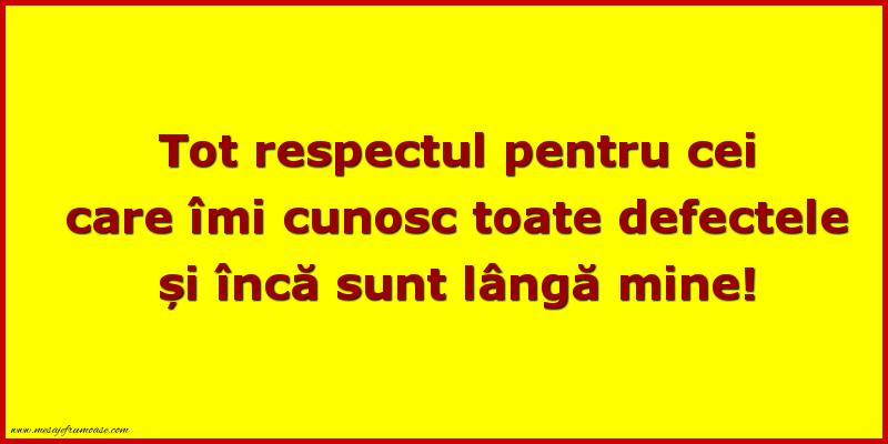 Mesaje frumoase despre prietenie - Tot respectul pentru cei care imi cunosc toate defectele si inca sunt langa mine!