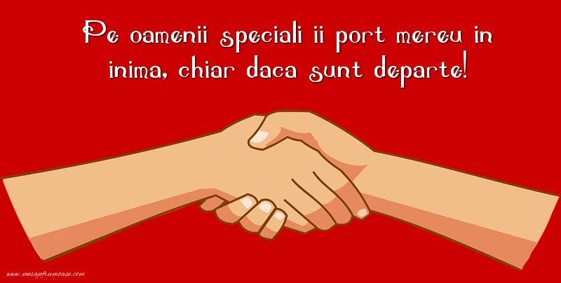 Mesaje frumoase despre prietenie - Pe oamenii speciali ii port mereu in inima, chiar daca sunt departe!