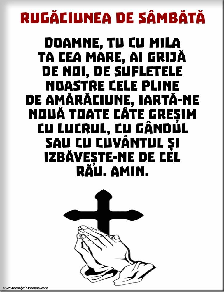 Rugăciunea de Sâmbătă: Doamne, Tu cu mila Ta cea mare