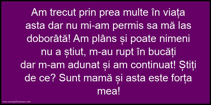 Mesaje frumoase despre viata - Sunt mamă și asta este forța mea!