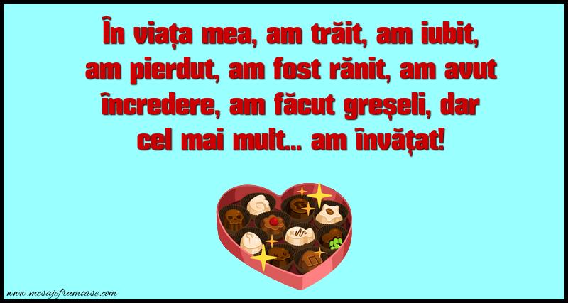 Mesaje frumoase despre viata - În viața mea, am trăit, am iubit, am pierdut...